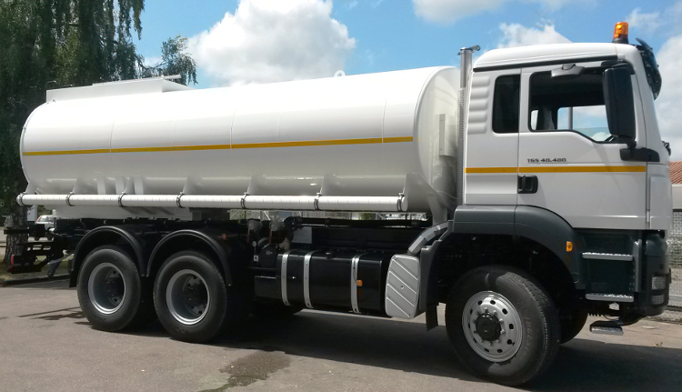Water tank truck for drinking and process water transportation. The water tank bodies are available as coated or stainless steel version.